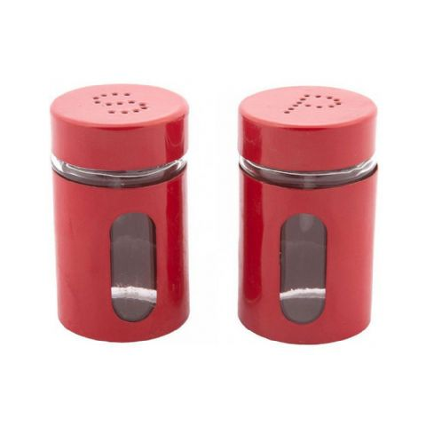 Salt & Pepper Pots Red Glass